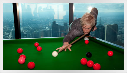 Neil Robertson plays snooker on the world's highest snooker table